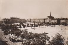 Hermann Walter, Augustusplatz mit Bildermuseum und Universitätskirche, Leipzig, 1888